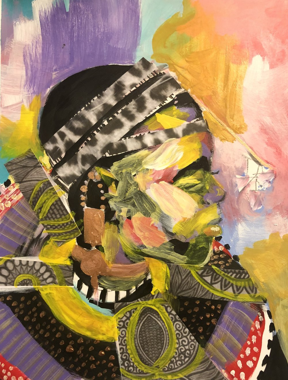 Ceremony   Acrylic and mixed media on paper  9.5 x 11   NFS