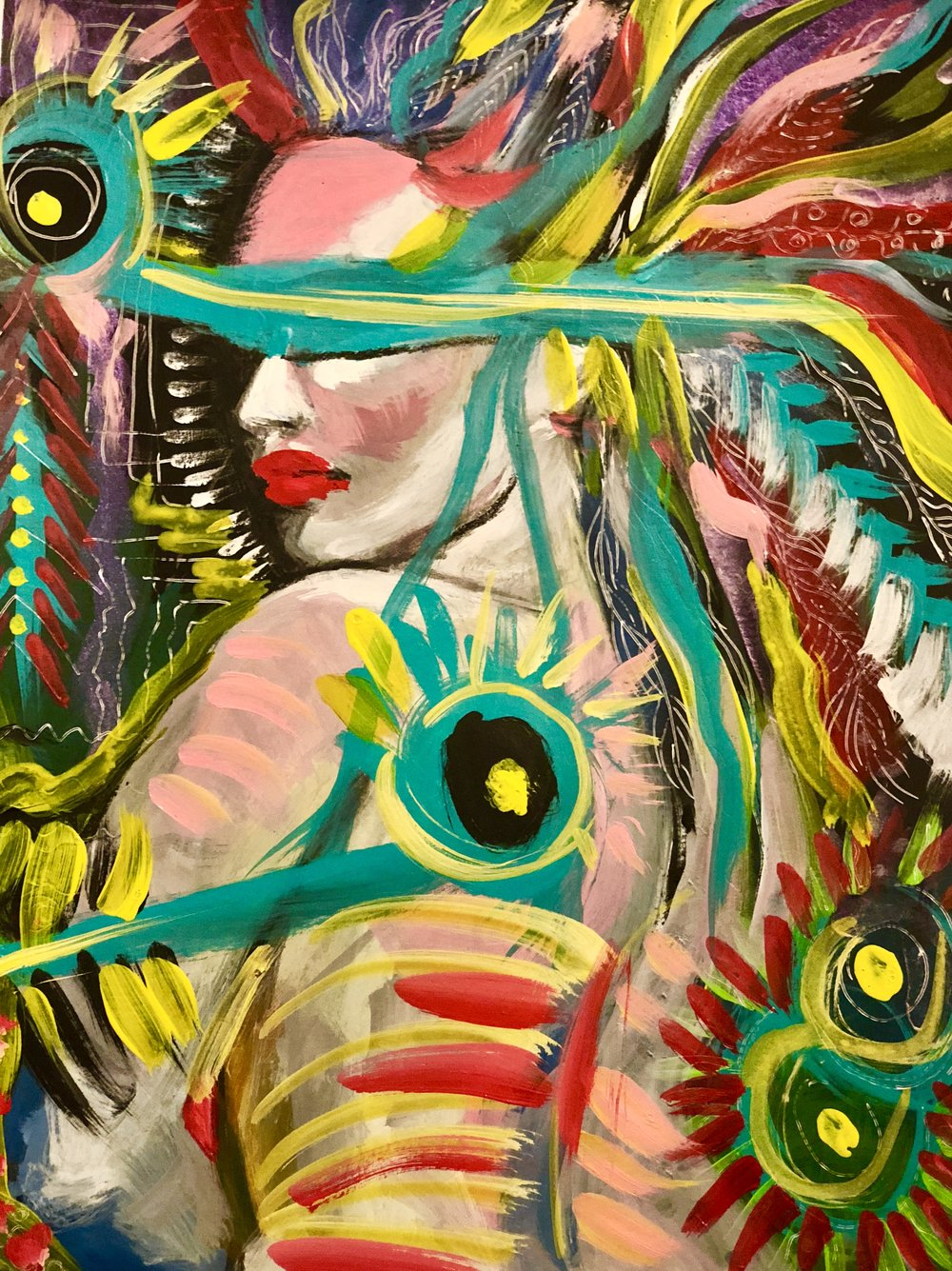 Peacock   Acrylic on paper  16 x 24   $225