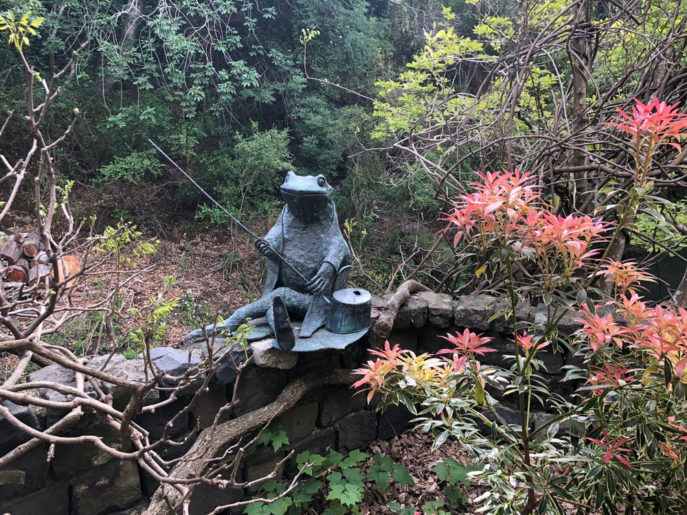 "The bronze frog sculpture 'Jeremy Fisher', a Beatrix Potter figure (sculpture by Albert Guibara) has enjoyed three of Susan's gardens.  ""He is the happiest he has ever been here, fishing in the creek."""