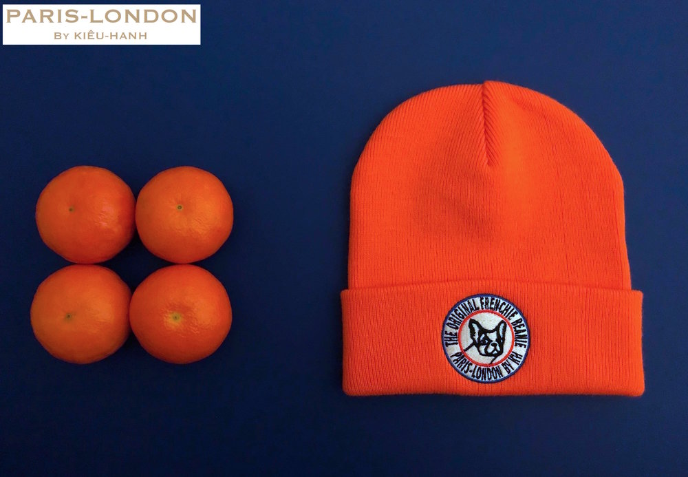 The Original Frenchie Beanie. Colour: Orange '1 of your 5-a-day!'