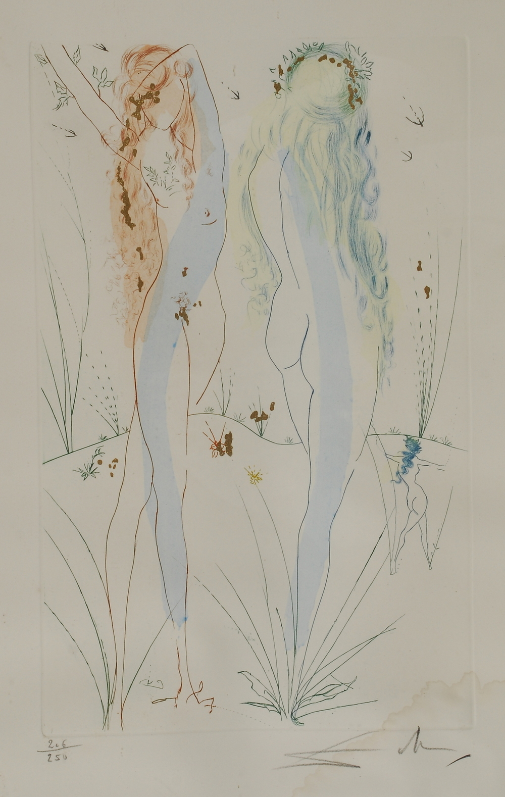 "elyssediamond :      hipinuff :      Nymphs , Salvador Dali   1920     Actually this is the ""Return, oh, Shulamite"" from Dali's ""Song of Songs"".    It's a beautiful collection of etchings, you can see the rest of it  here , The images don't do it justice, it's such a delicately made collection and the reflections from the gold dust make the figures look like they are going to jump right out of the paper and start dancing around you."