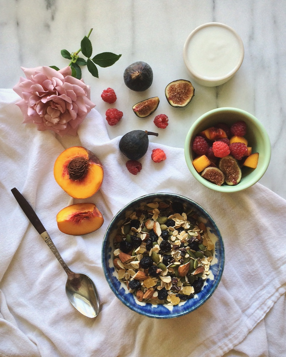 blueberry ginger muesli with fruit
