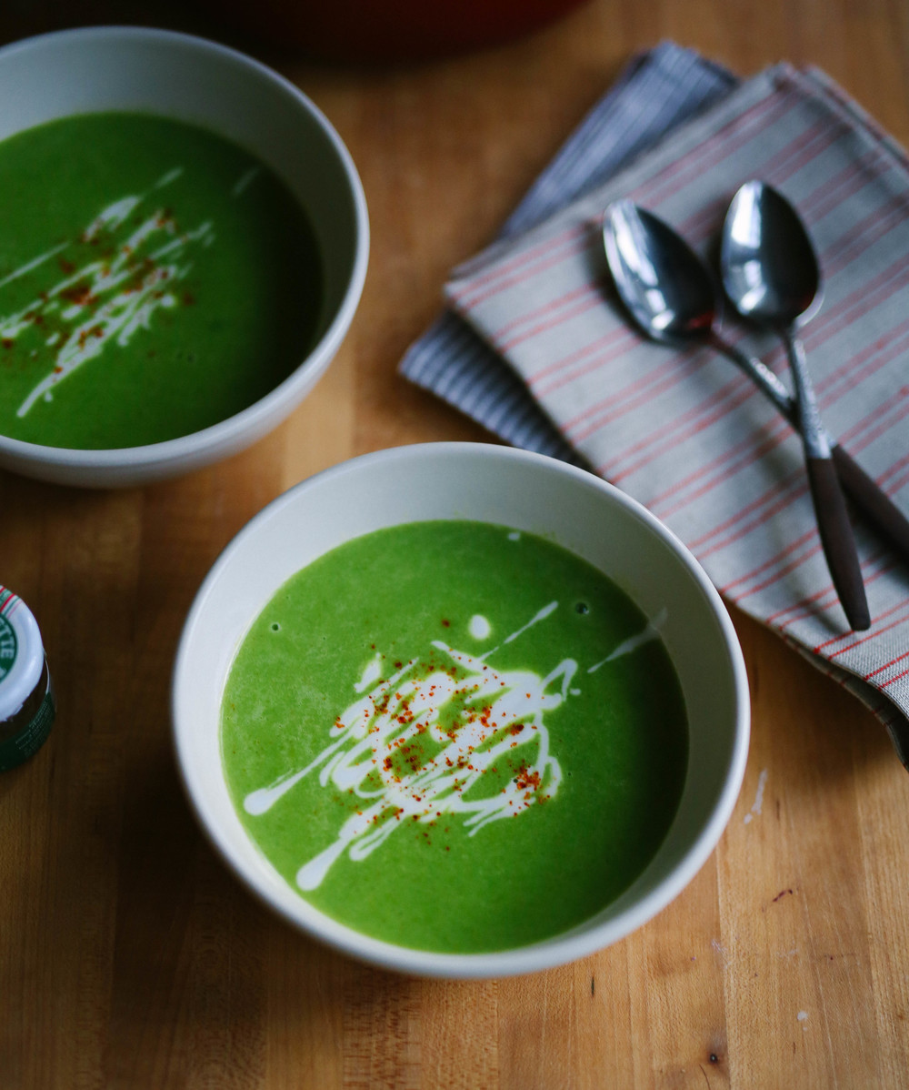 pantry pea velouté with curry and lemon