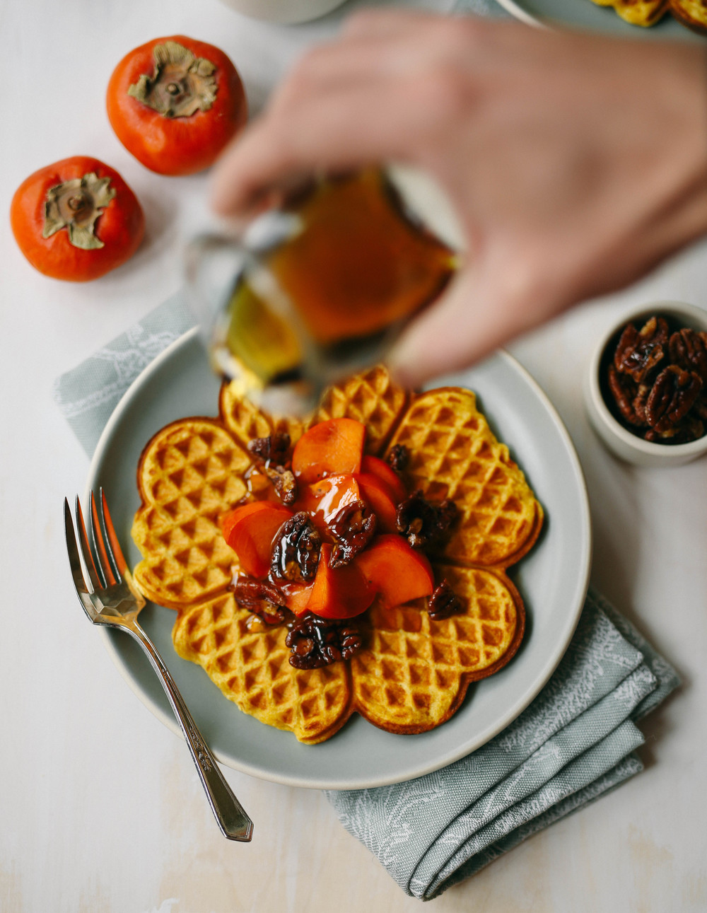 spelt persimmon waffles | field + forest
