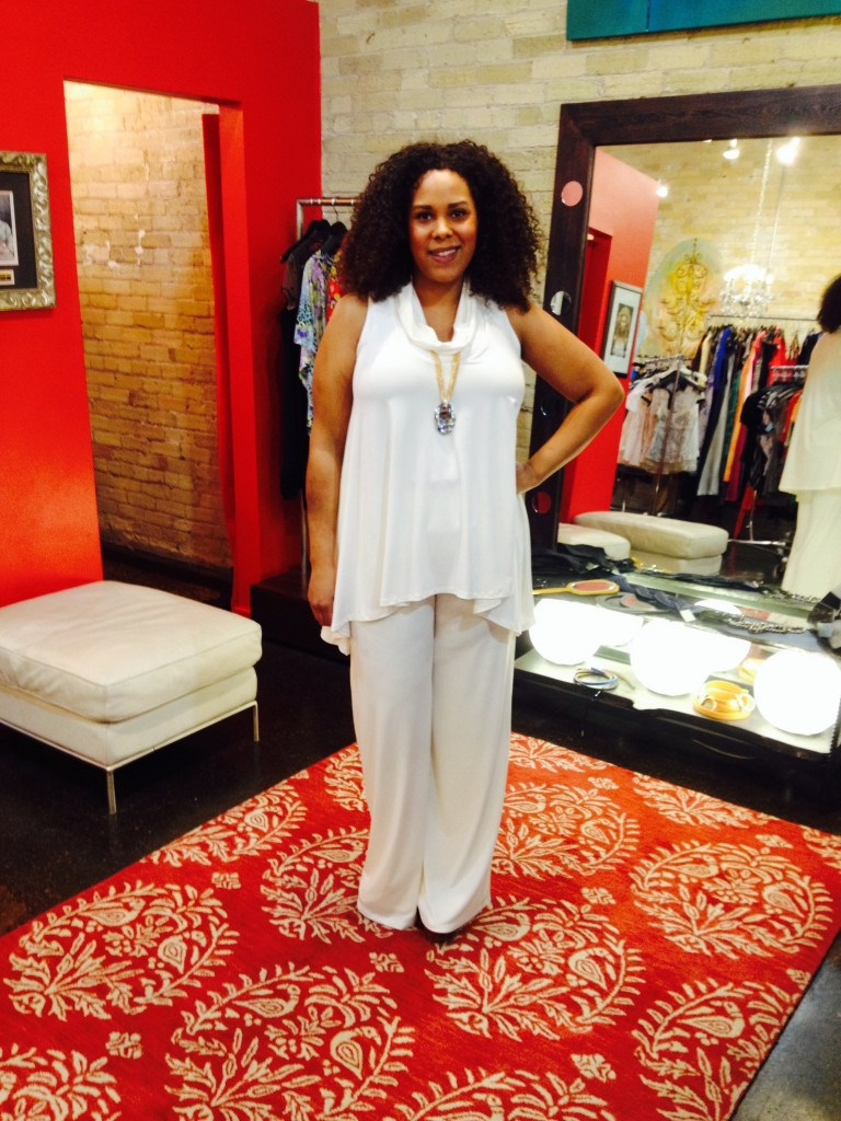 Top : $118, sizes XS-M   Trouser Pants : $136, sizes XS and M   Necklace : $22