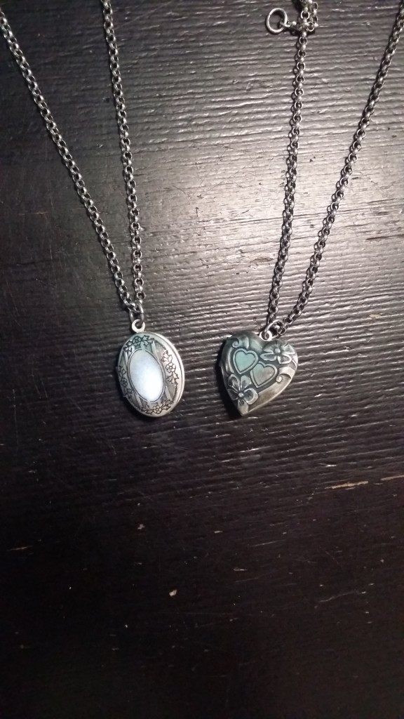 (Left) Engraved Oval Lockets: $60 (Right) Engraved Heart-Shaped Lockets: $60