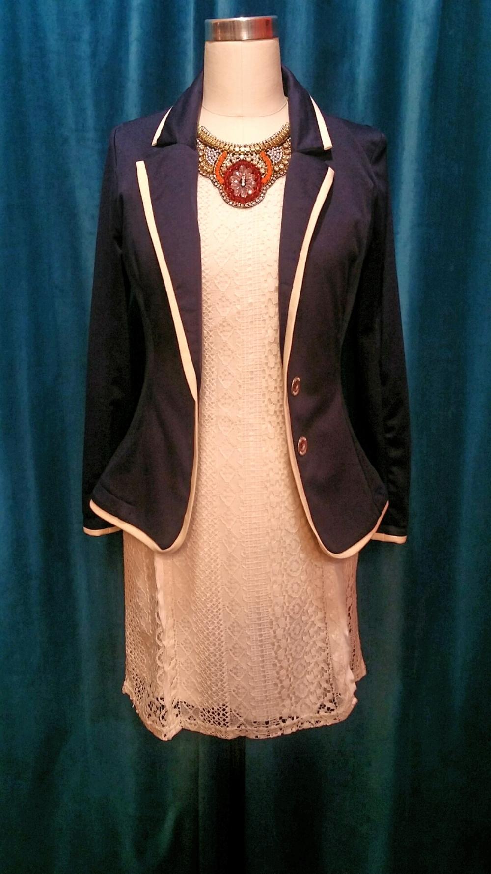 Miilla Dress, sizes S & M, $60. Mathiasen blazer, sizes S-L, $136.