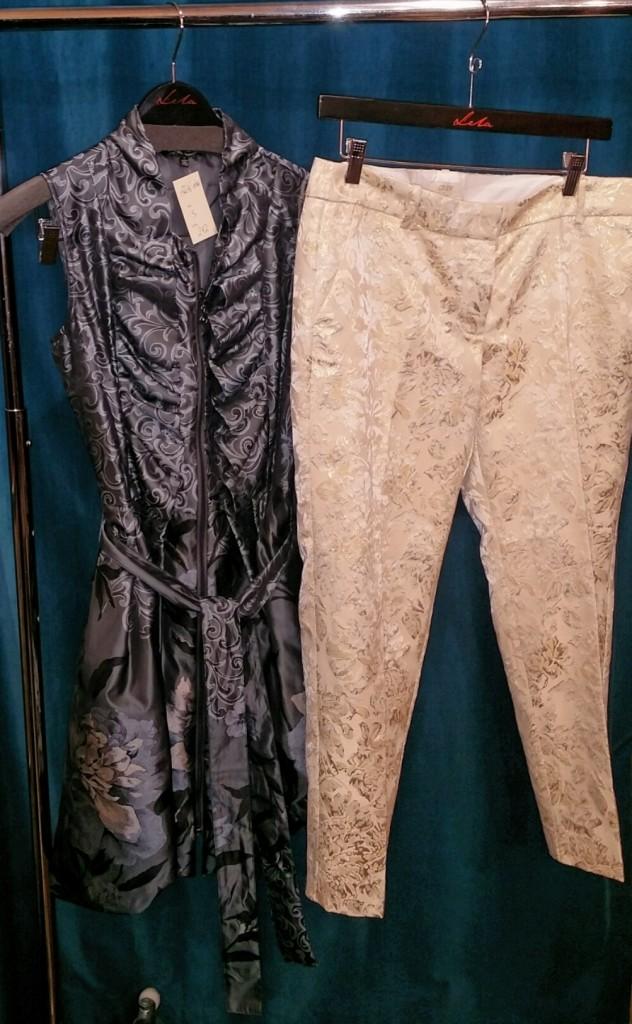 Samuel Dong dress, $242. J. Crew trouser, size 10, $30