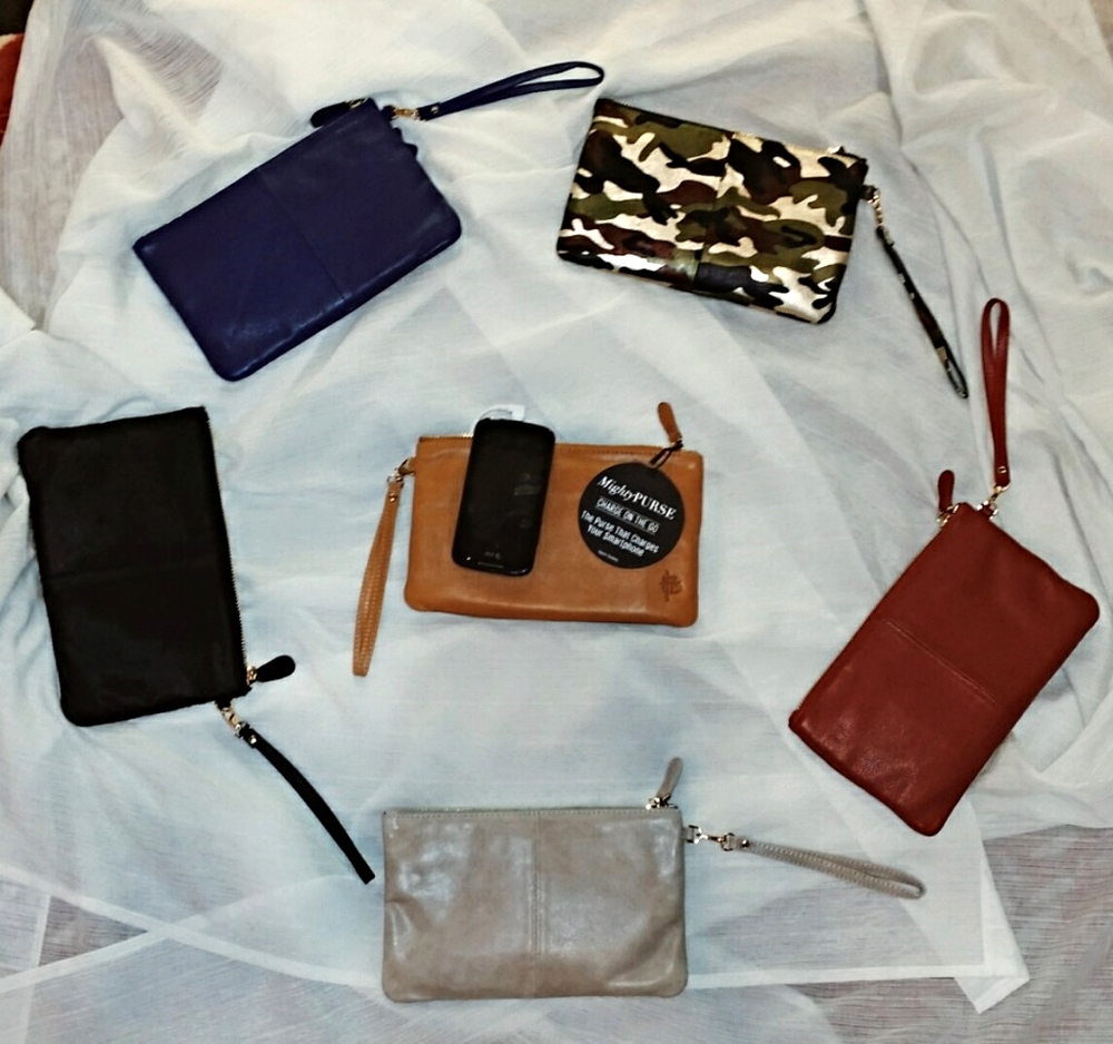 Mighty Purses come in Black Pony Hair, Blue, Shiny Camo, Red, Cognac, and Pebble. $118 each.