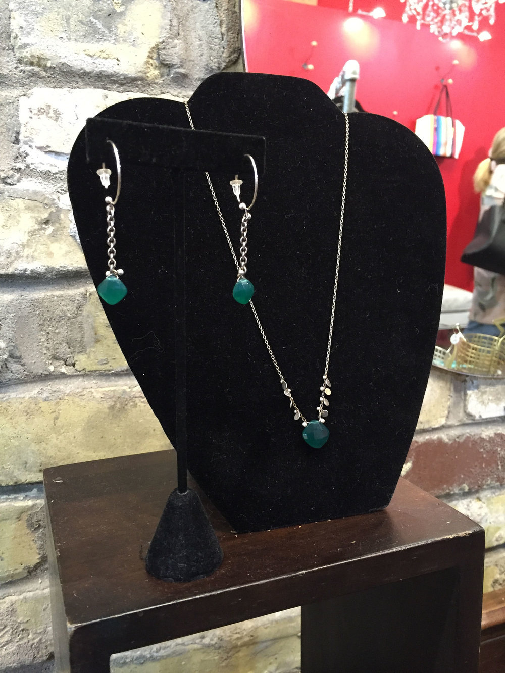 Green onyx necklace, $72; earrings, $48