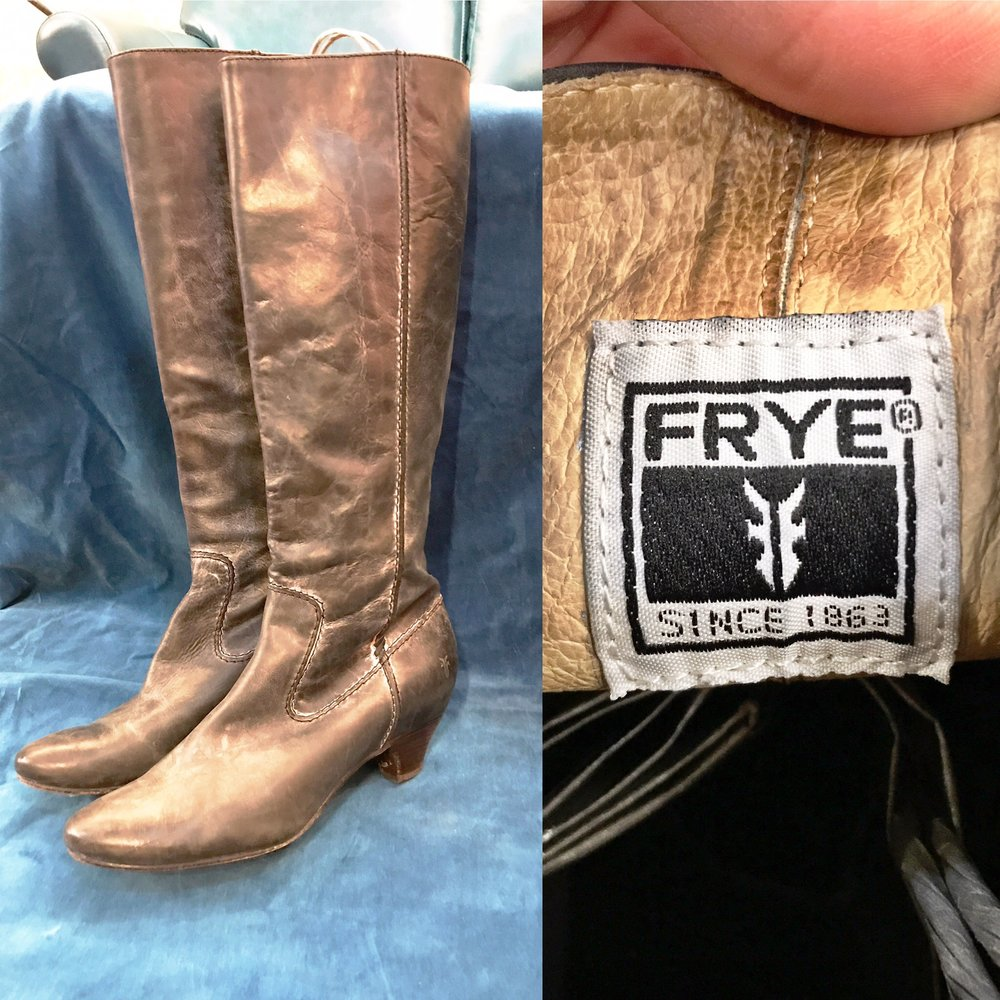 Brown distressed leather Frye boots, $62 (originally $190), size 9.5 (we have another pair in dark grey distressed leather!)