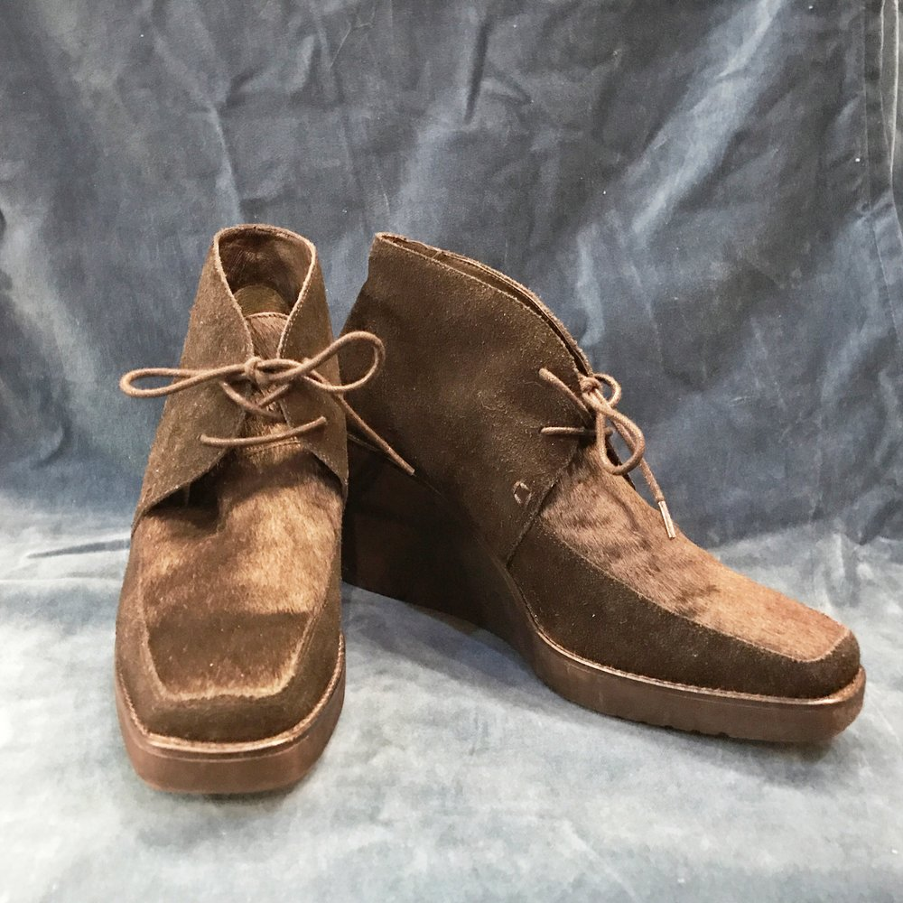 Half suede, half fur Pliner booties, $48, size 10