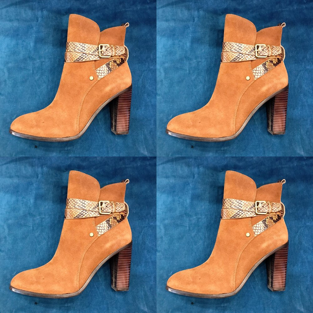 Donald J Pliner booties with snakeskin detail, $148 (originally $329), size 7.5