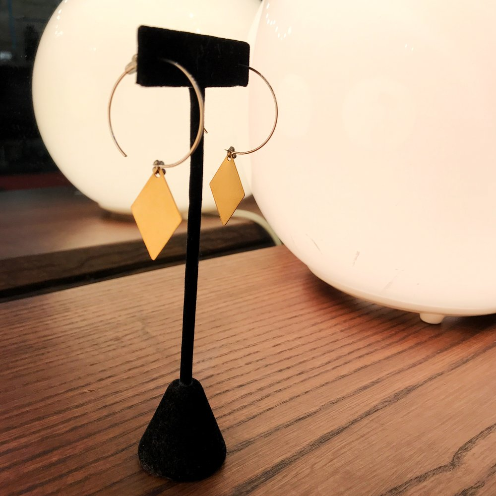 Gold diamond pendant earring, $36 (regularly $48)