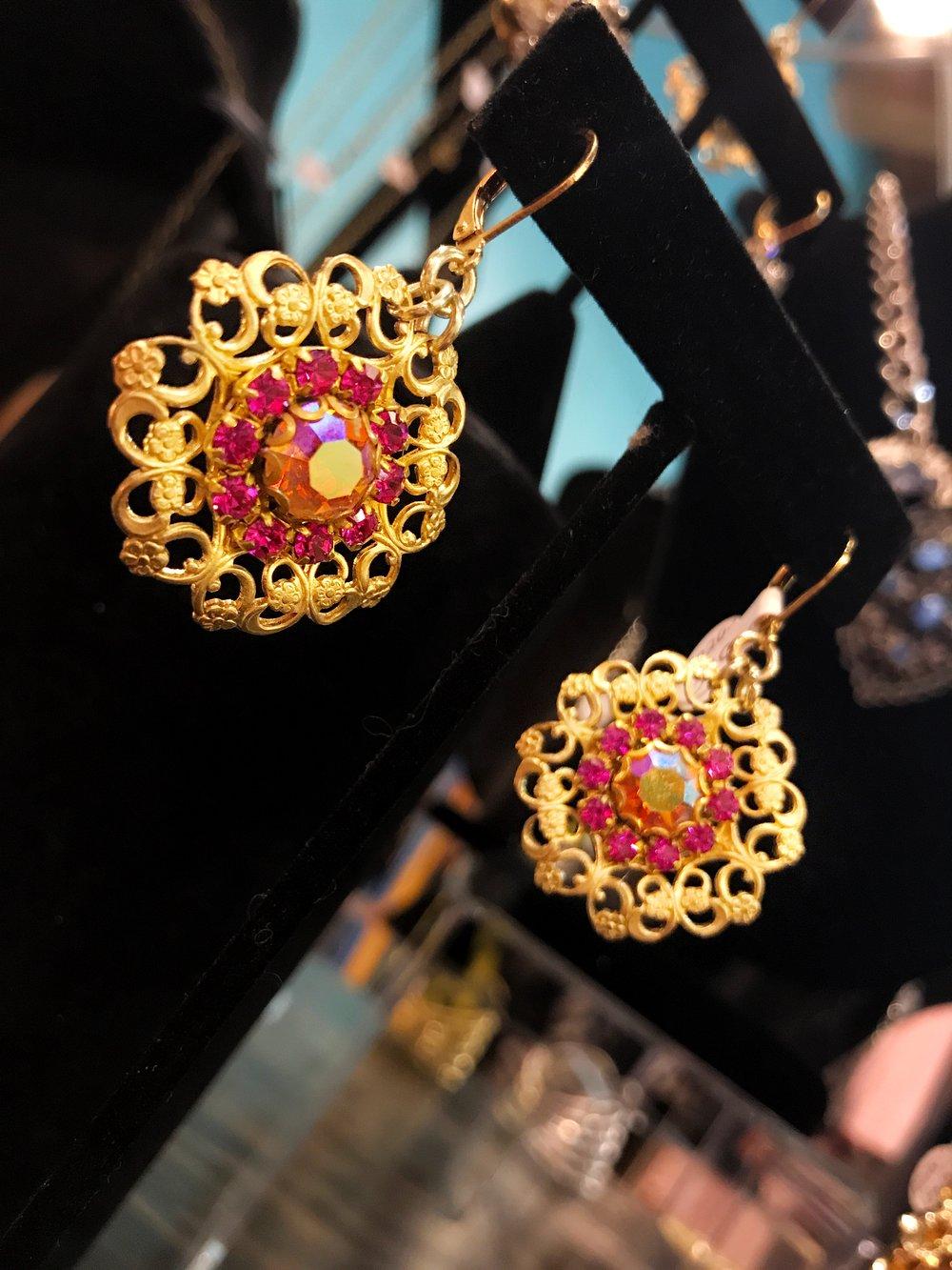 wrought gold iri gems earrings.JPG