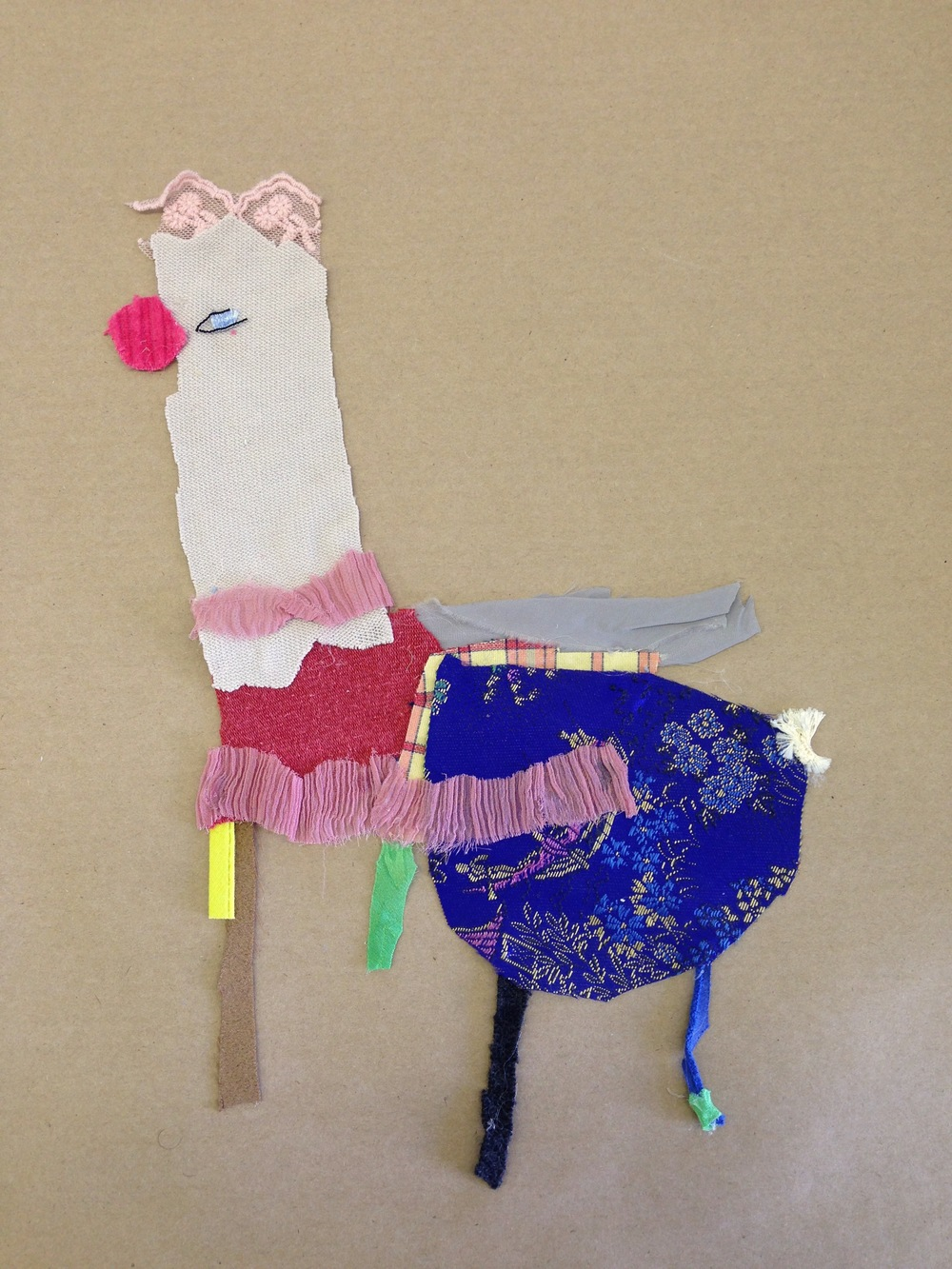Ostrich  20.5 x 20.5 inches  Recycled fabric:  2015