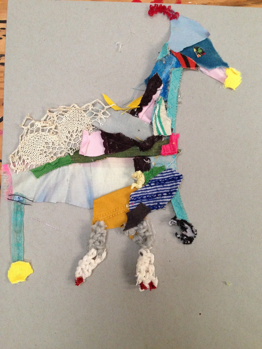Velveteen humpbacked Reindeer  20.5 x 20.5 inches  Recycled fabric:  2015