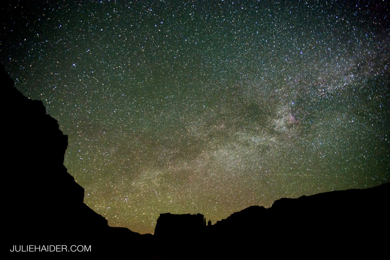 Desert rocks frame the Milky Way in Moab, Utah.