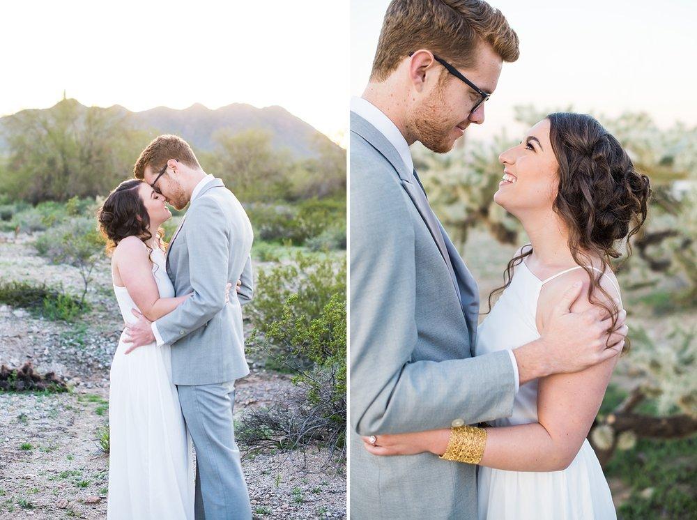 Desert boho elopement in the San Tan mountains near Phoenix, Arizona.