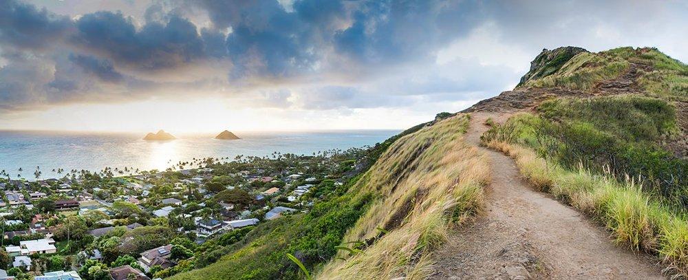 Panoramic view of the twin Mokoulua islands from the Lanikai Pillbox Hike