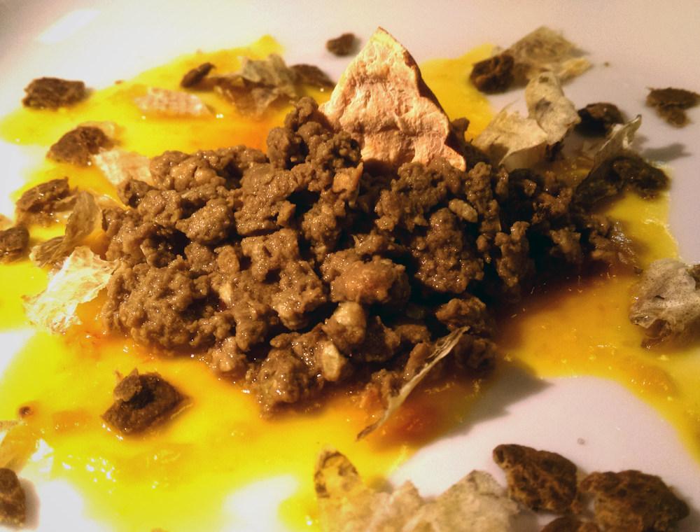 lamb tajine for dogs with cod fish skin, lamb jerky, freeze-dried california sweet potatoes, and puréed pumpkin.