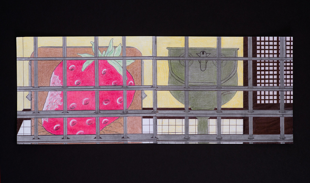 "Diptych - Left: Untitled (Strawberry cell), Right: Death Row Last Meal, color pencils on paper, 8 1/2"" x 11"""