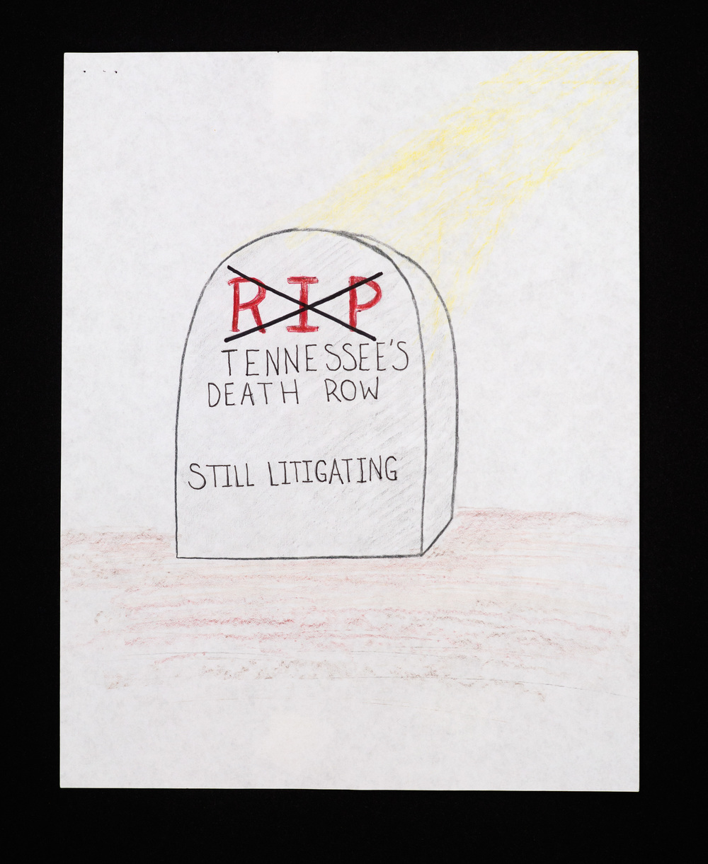 "R.I.P. , pencil on paper 8½"" x 11"""