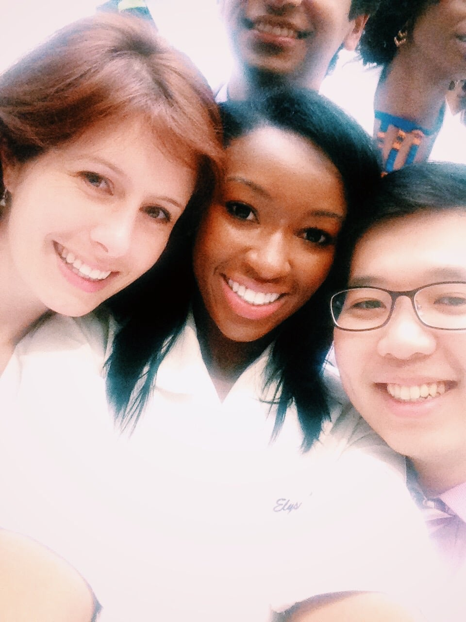 Selfies with two of my best friends while tacking our class picture - Emory School of Medicine Class of 2015