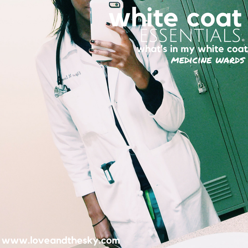 white coat essentials - what's in my white coat - medicine wards - long white coat