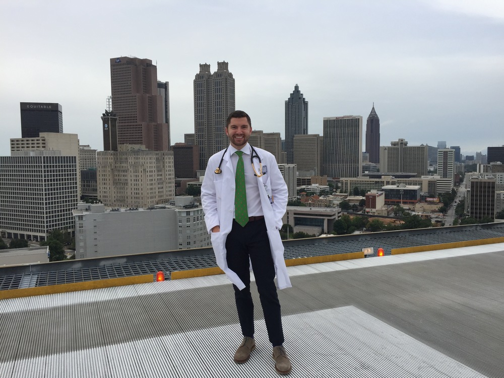 Emory internal medicine resident on first day of intern year, pgy-1, at Grady Memorial Hospital in Atlanta, Ga