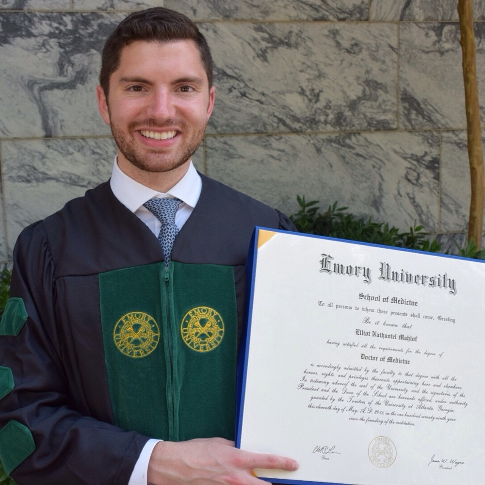 Elliot Mahlof at his Emory University School of Medicine Graduation in Atlanta, Ga