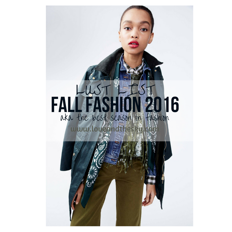 Love and the sky -  lust list - fall 2016 fashion for the part time young professional, part time cool girl, 20 something, 30 something cool professional girl, denim jackets, trench coats, j crew, madewell, everlane