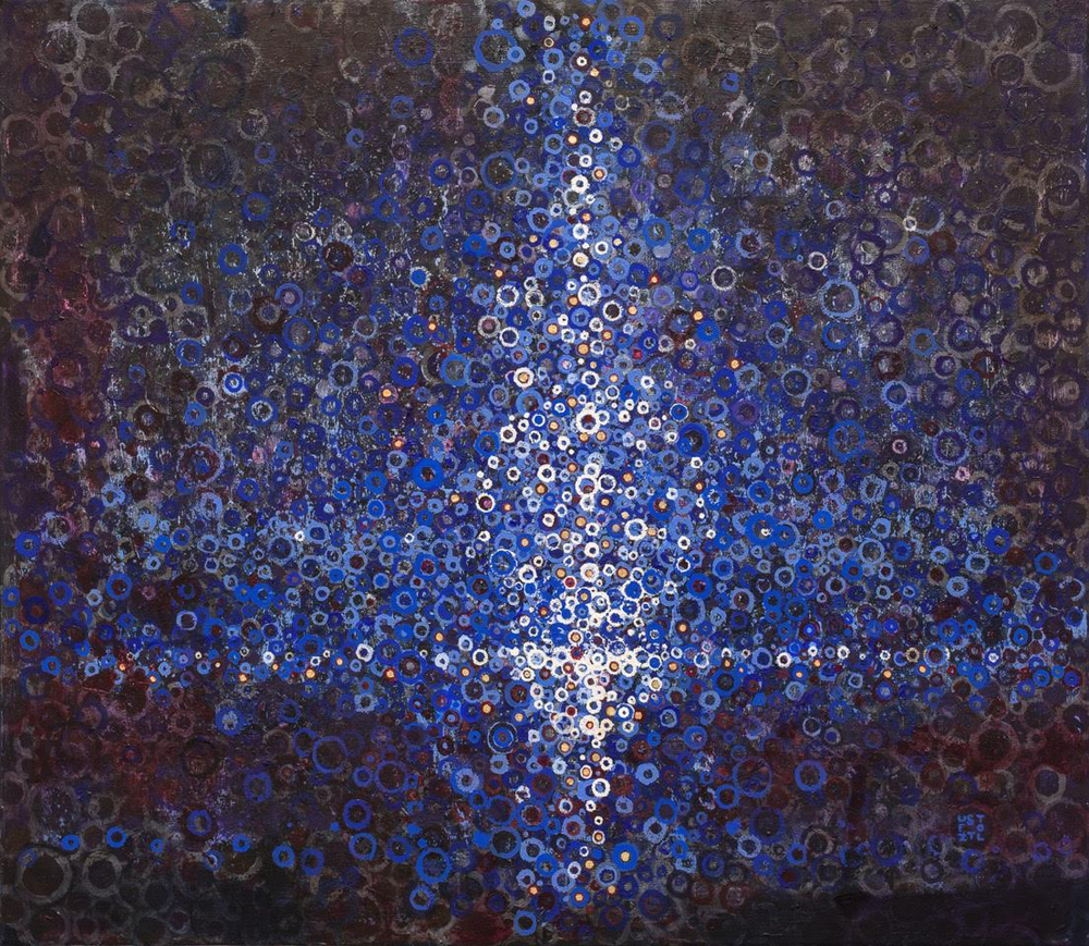 Randall Stoltzfus, After, Acrylic Dispersion with Gold Leaf on Polymer Canvas, 34 x 39 in.