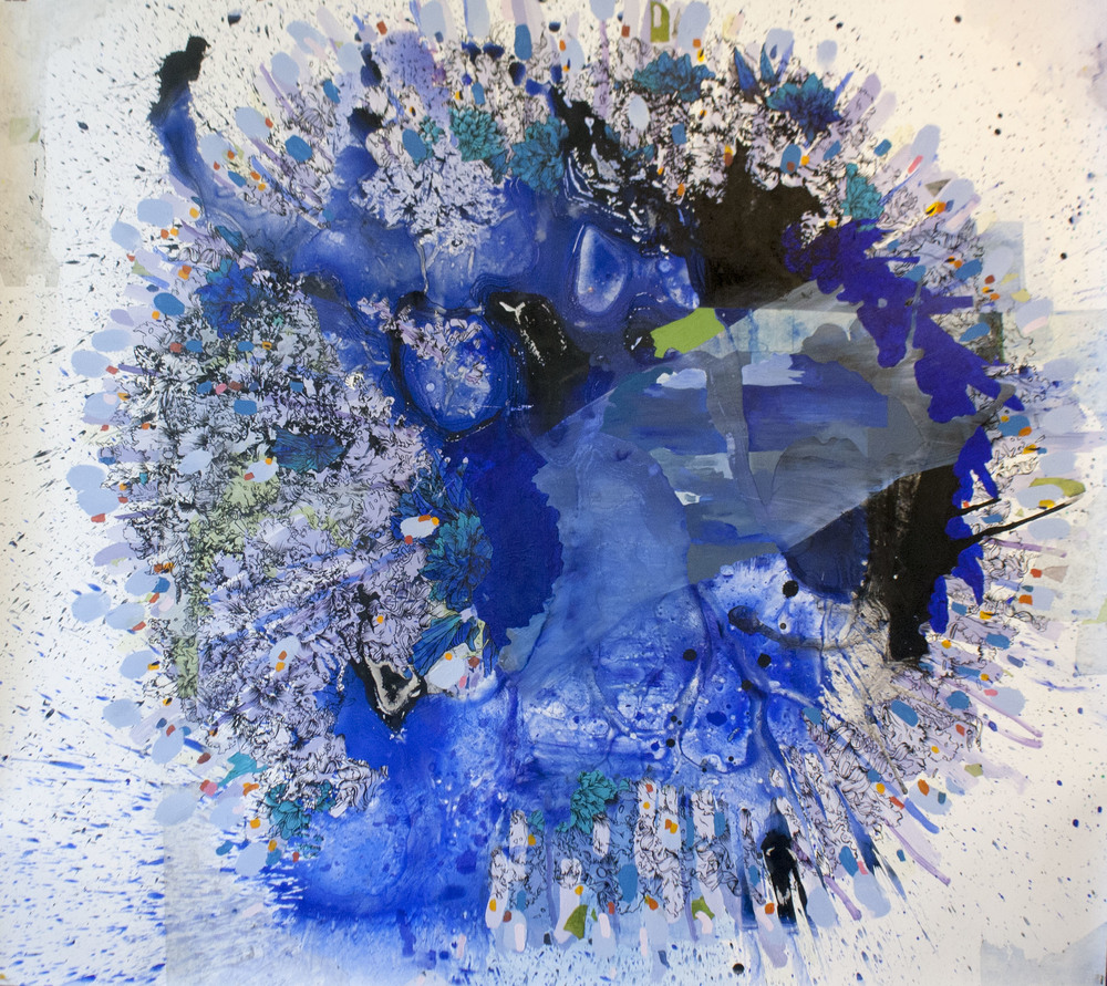 Katherine Tau-Lan Mann, Cauldron 2, Acrylic and Sumi Ink on Paper, 62.5 x 65.5 in.
