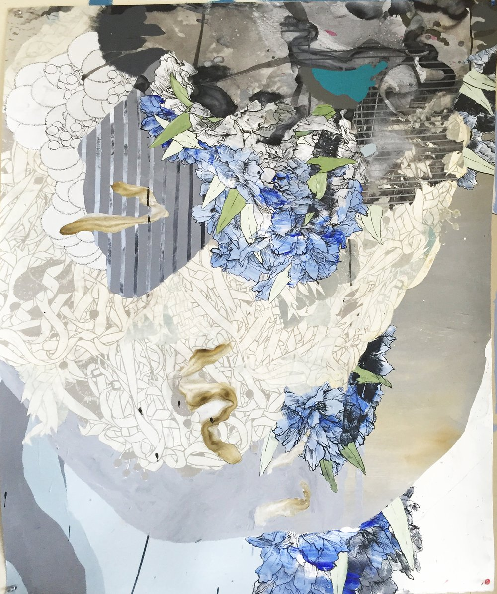 Blue , Acrylic, Ink, Woodcut, Etching on Paper, 54.75 x 44.5 in.  Contact Gallery for Price