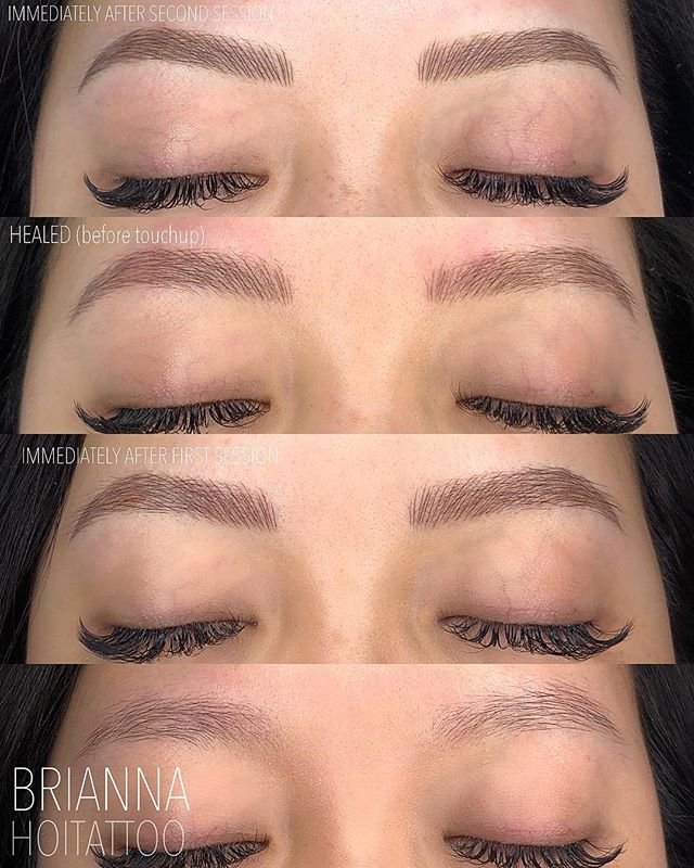 Breaking d o w n  the steps and process of how we build a brow - this is a perfect example of how it often takes more than one session to achieve desired results! . . artist | @bri.hoitattoo  studio | @hoitattoo  technique | microblading pigment | @tinadaviesprofessional i❤️ink dark and ash brown . . Online books - WWW.HOITATTOO.COM