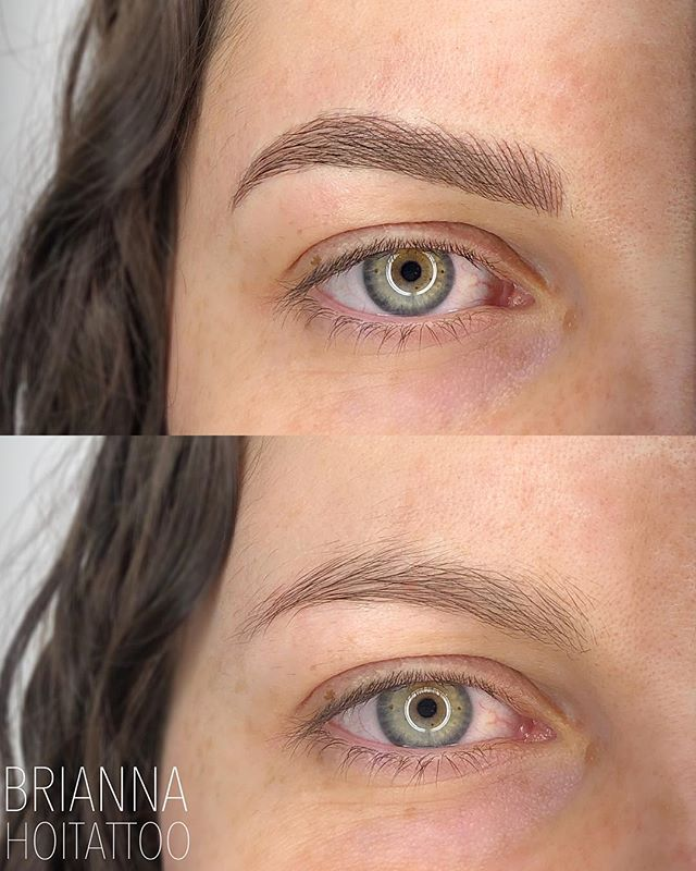 Another view of these brows 'cause those eyes are FIERCE 😍 . . artist | @bri.hoitattoo  studio | @hoitattoo  technique | microblading . . Online books - WWW.HOITATTOO.COM