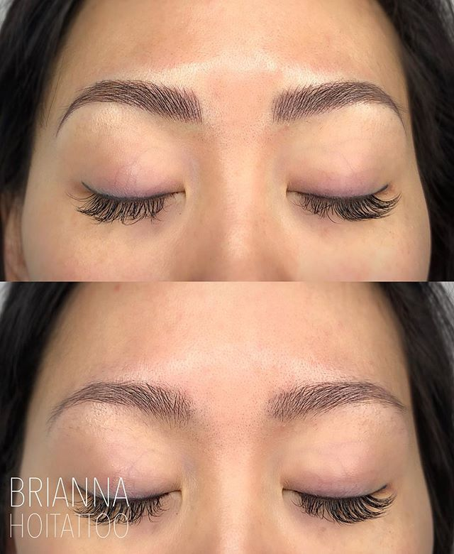 Took these good brows and turned them into great brows! . . artist | @bri.hoitattoo  studio | @hoitattoo  technique | microblading pigment | @tinadavies @tinadaviesprofessional i❤️ink in dark brown . . Online books - WWW.HOITATTOO.COM
