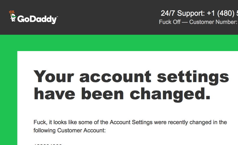 Screenshot of the confirmation email I got from GoDaddy