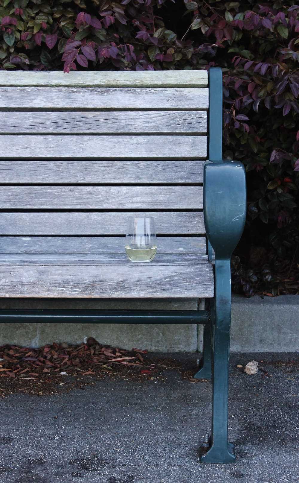 A little glass sitting on a bench...just waiting for the one who will pick them up and take them.