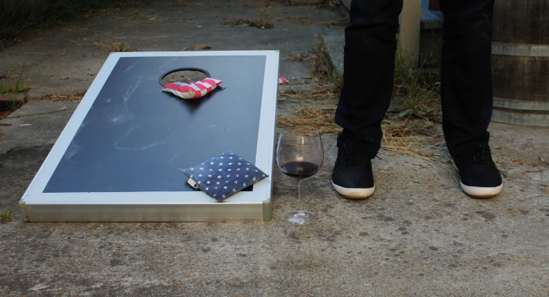 A small pour before dinner...or maybe what is left of a giant pour since it is placed in the corn hole danger zone!