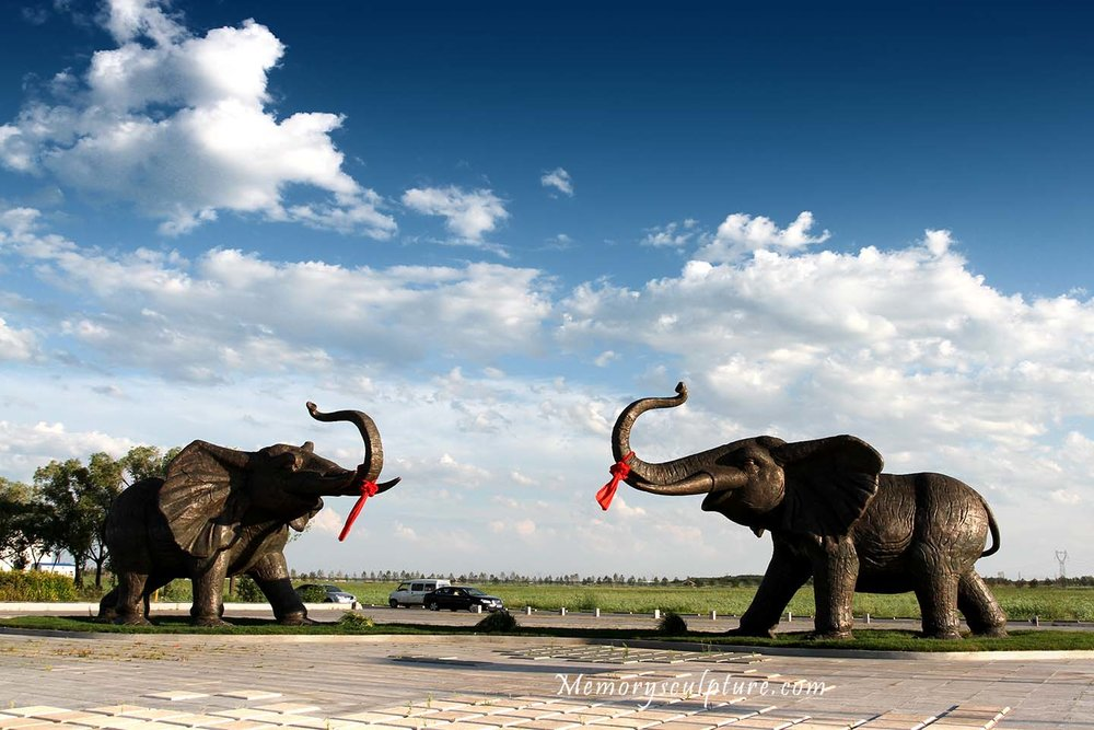 Celebrating - 5 meters height large elephant bronze casting sculpture is located in Daqing, China. It was designed for the purpose of celebrating the founding of Heiyu Lake Art Zone.