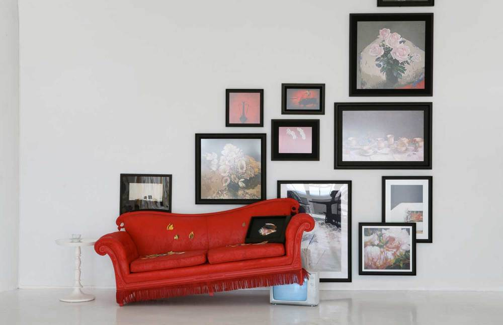CURATING A WALL BASED ON COLOR AND THEME FROM CLIENT'S EXPANSIVE SITE