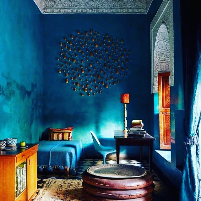 At the El Fenn Hotel in Morocco, color meets mastery. Designed by Willem Smit. #thevisionaryspace #beyondbeauty #design #elfenn #willemsmit #morocco #hoteldesign