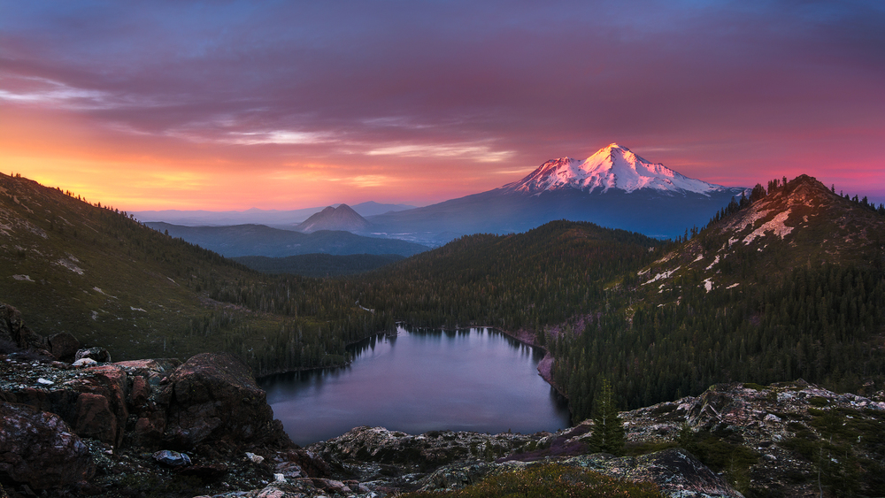 Sunset colors on Mt Shasta