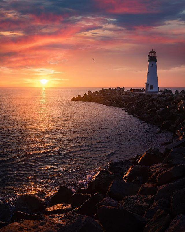 That lighthouse again !  Those birds 🦅 are Real 🤨 #lighthouse#santacruz #sunrise#california #usinterior #landscapephotography #bayarea #ig_escaype #photography #photoshop #nikond810