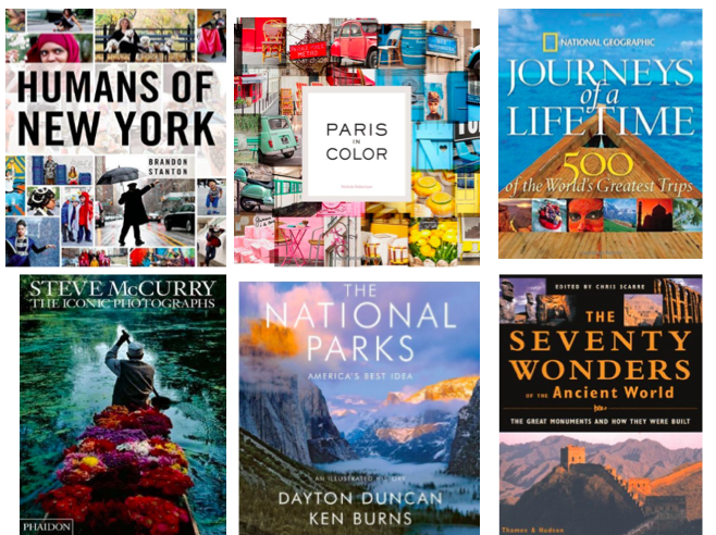 1. Humans of New York   |   2. Paris in Color   |   3. Journeys of a Lifetime   |   4. Steve McCurry: The Iconic Photographs   |   5. The National Parks: Americas Best Idea   |   6. The Seventy Wonders of the Ancient World