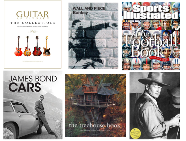 1. The Guitar Aficionado  |  2. Wall and Peace: Bansky  |  3. Sports Illustrated: The Football Book  |  4. James Bond Cars  |  5. The Treehouse Book  |  6. John Wayne: The Legend and the Man