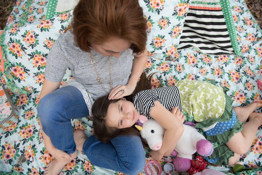 mom stroking daughters hair-family-pensacola photographer
