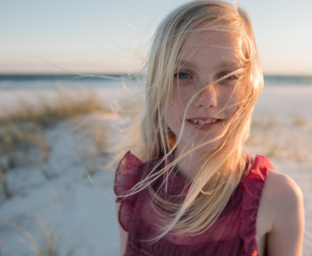 girl with wind in hair-Pensacola child photographer